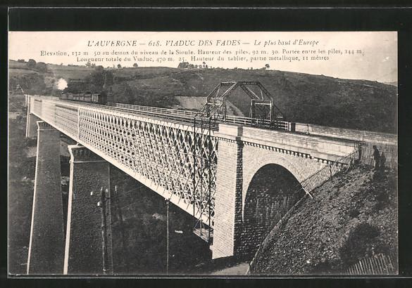 AK Fades, viaduc de Fades, Eisenbahn