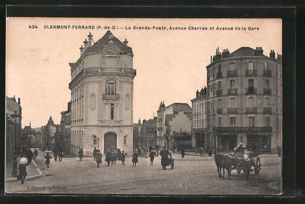 AK Clermont-Ferrand, la grand-poste, avenue Charras et avenue de la Gare