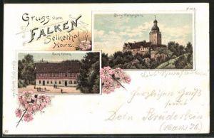 Lithographie Selkethal, Burg Falkenstein & Gasthaus