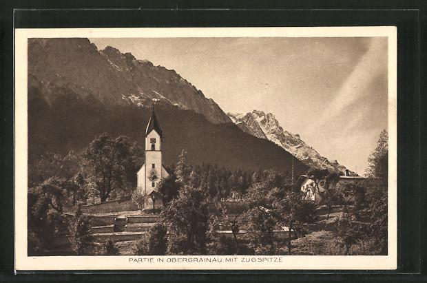 AK Obergrainau, Ortspartie mit Blick auf die Kirche und die Zugspitze