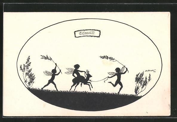 Künstler-AK Elsbeth Forck: Feen reiten auf einem Reh