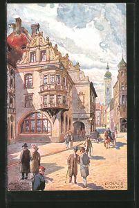 Künstler-AK Richard Wagner: München, Strassenpartie am Hofbräuhaus