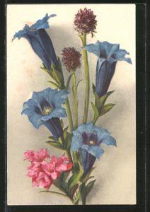 AK Blumestrauss mit Marien-Glockenblumen