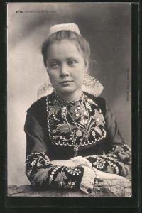 AK Quimper, Jeune Fille, Mädchen in bretonischer Tracht