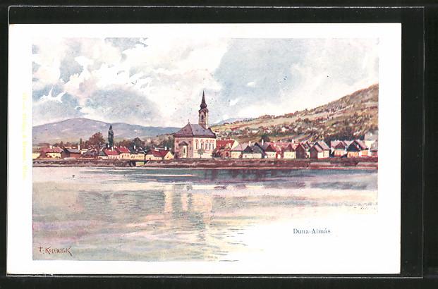 Künstler-AK Franz Kopallik: Duna-Almás, Blick zum Ort