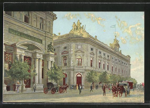 Künstler-AK Buenos Aires, Banco de la Nacion y Nuevo Banco Italiano
