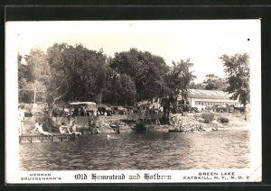 AK Catskill, NY, Green Lake, Herman Bruggemann's Old Homestead and Hofbrau 0
