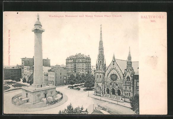 AK Baltimore, MD, Washington Monument and Mount Vernon Place Church 0