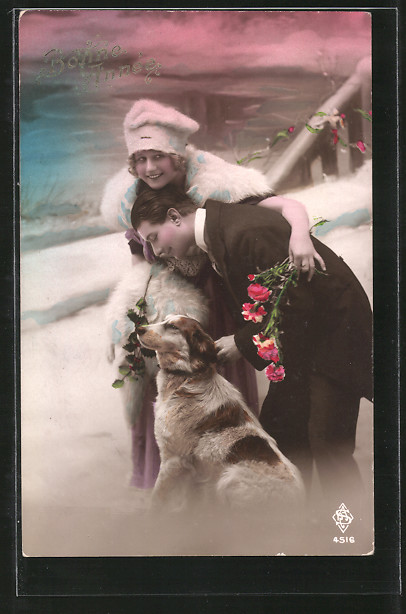 AK Bonne Année, Paar mit Hund, Dame im Pelz