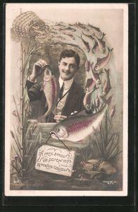 AK A mes amours va porter mes pensées toujours, Portrait eines jungen Herren und Fische, Kulisse