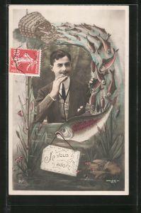 AK Je vous adore, Portrait eines jungen Herren und Fische, Kulisse
