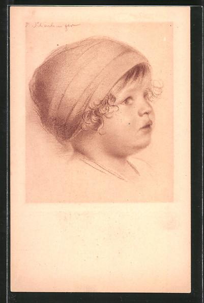 Künstler-AK Walter Schachinger: Kind mit Kopftuch