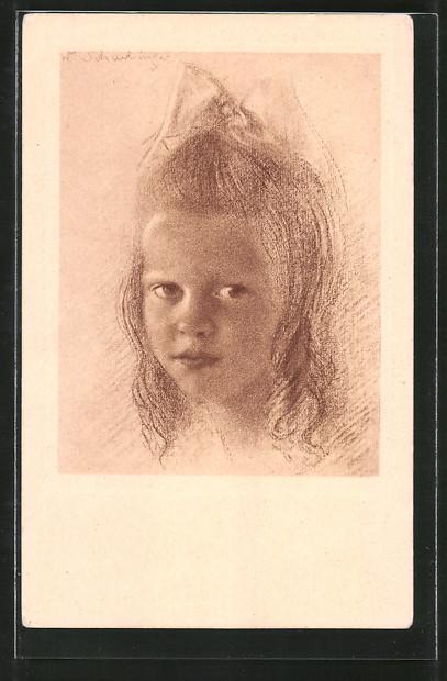 Künstler-AK Walter Schachinger: Mädchen mit Haarschleife