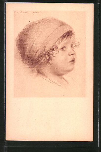Künstler-AK Walter Schachinger: Kinderkopf
