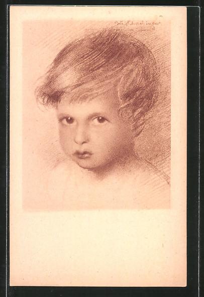 Künstler-AK Walter Schachinger: Kopfportrait eines Knaben