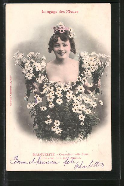 AK Langage des Fleurs, Marguerite, Blumensprache
