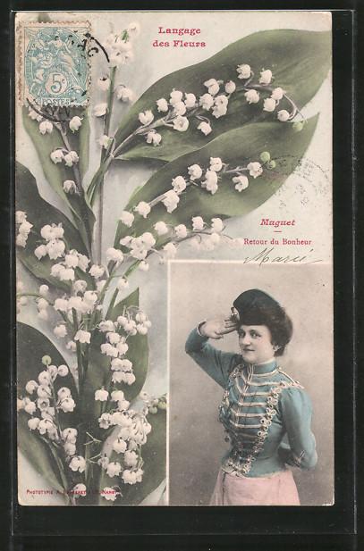 AK Langage des Fleurs, Muguet, Retour du Bonheur, Maiglöckchen und Mädel in Uniform
