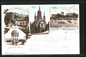 Lithographie Wiesbaden, Griechische Kapelle, Nerobergbahn, Neroberg-Restauration