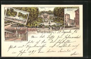 Lithographie Wiesbaden, Kurhaus, Kranzplatz mit Kochbrunnen, Grosse Fontäne im Kurgarten, Pferdekutsche
