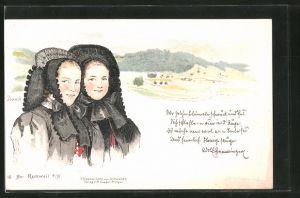 Künstler-Lithographie Rottweil, zwei Frauen in schwäbischer Tracht