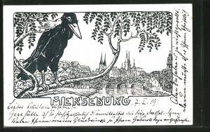 AK Merseburg, Ortsansicht aus der Ferne mit Rabe