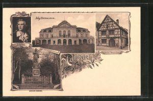 AK Marbach, Schillermuseum, Schiller-Denkmal, Schiller's Geburtshaus, Portrait des Dichters Friedrich Schiller