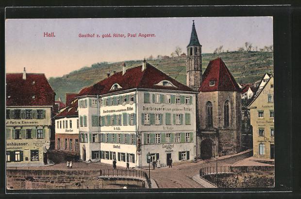 AK Hall, Brauerei und Gasthof zum goldenen Ritter