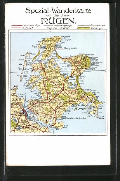 AK Bergen, Landkarte der Ortschaft mit Umgebung, Spezial-Wanderkarte