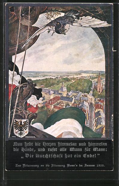 Künstler-AK sign. Max Honegger: Bonn, Räumung der Stadt 1926, Adler, Taube, Wappen