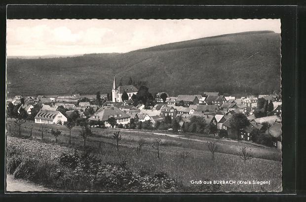 AK Burbach, Ortsansicht vom Hügel aus