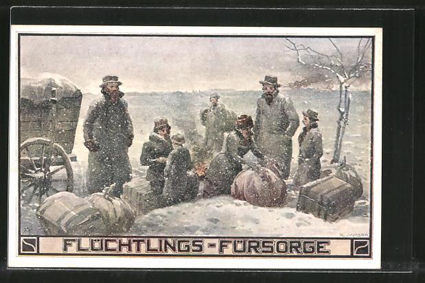 Künstler-AK Richard Moser: Flüchtlings-Fürsorge, Lagerfeuer im Winter