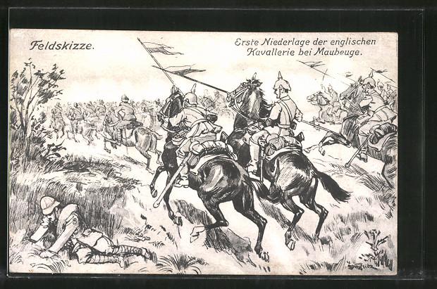 Künstler-AK Erste Niederlage der engl. Kavallerie bei Maubege