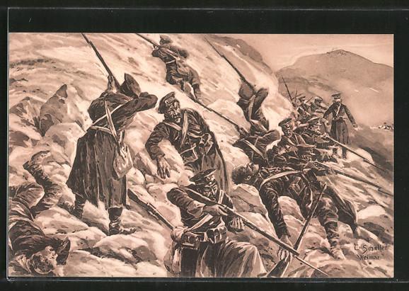 Künstler-AK Karpaten, russische Soldaten einer eingeschlossenen Abteilung im Gefecht