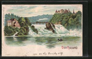 Lithographie Blick auf den Rheinfall, Halt gegen das Licht: Ansicht bei Vollmond