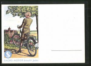 AK Sachs-Motor braucht Jeder, Junge Dame auf Moped