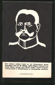 AK Paul von Hindenburg, Portrait als optische Täuschung