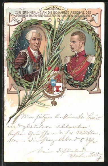 Lithographie 150 Jahre Residenz Regensburg, Fürst Alexander Ferdinand & Fürst Albert von Thurn & Taxis, Wappen