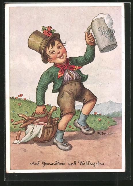 Künstler-AK F. Gareis: Bayer mit Bierkrug und Korb voller Würste