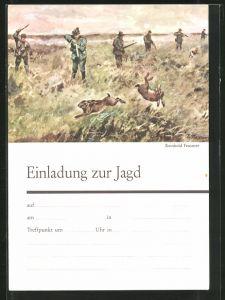 Künstler-AK Einladung zu Jagd, Jagd auf Hasen