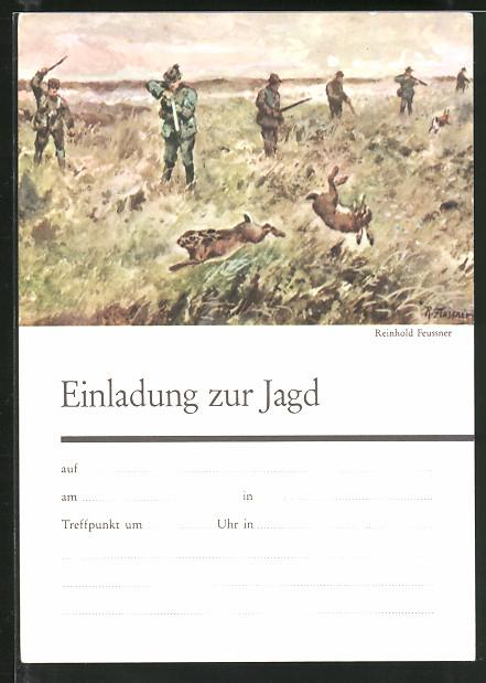 Kunstler Ak Einladung Zu Jagd Hasenjagd Nr 7299519 Oldthing