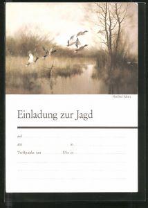 Künstler-AK Einladung zu Jagd, Enten auf der Flucht