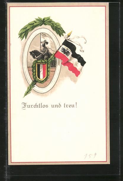 AK Ritter und Fahne des Deutschen Reichs