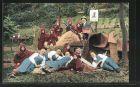 AK Döbeln, 600-jähriges Innungs-Jubiläum der Schuhmacher-Innung 1925, Stiefelbaukolonne mit Heinzelmännchen