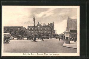 AK Buenos Aires, Estacion Once, Strassenpartie am Bahnhof