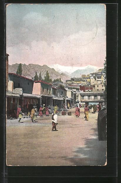 AK Leh, Blick in die Bazarstrasse, West-Himalaya 0