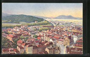 Künstler-AK Ljubljana / Laibach, Panoramablick auf die Stadt und ins Land