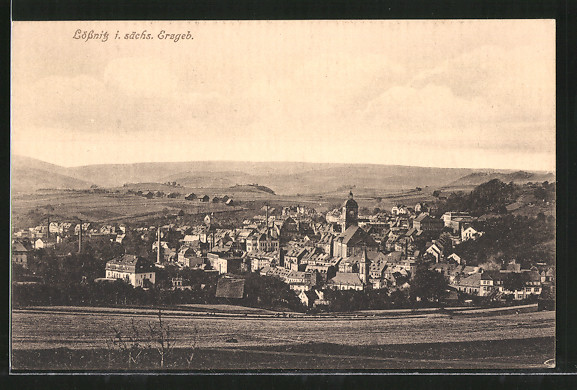 AK Lössnitz, Ortsansicht aus der Ferne