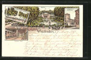 Lithographie Wiesbaden, Kurhaus und Kurhaussaal, Kranzplatz mit Kochbrunnen