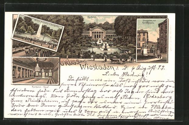 Lithographie Wiesbaden, Kranzplatz und Kochbrunnen, Grosse Fontaine im Kurgarten, Kurhaus