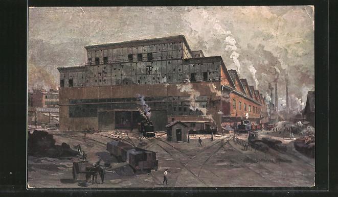 Künstler-AK Essen, Fabrikarbeiter in der Gussstahlfabrik